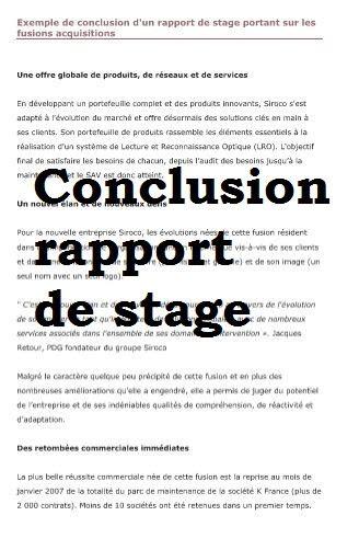 exemple conclusion rapport de stage