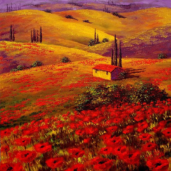 Oil Paintings: Tuscany Poppy Hills by Sesillie