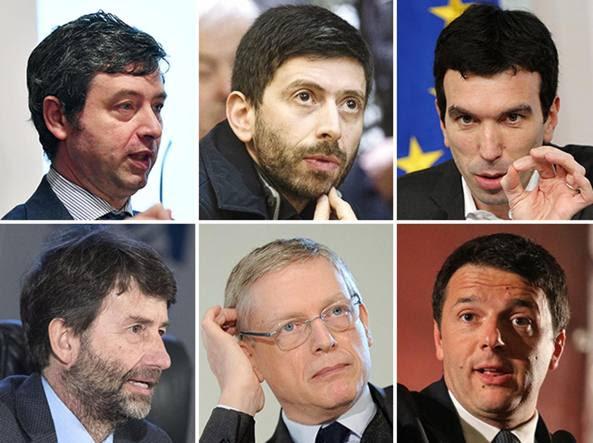 Da sinistra in alto, Andrea Orlando, Roberto Speranza, Maurizio Martina, dario Franceschini, Gianni Cuperlo e Matteo Renzi