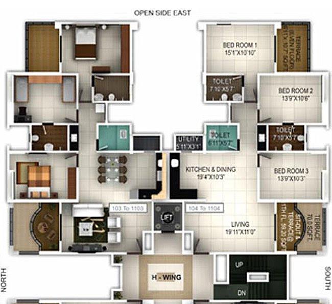 3 BHK Flat  H Wing 1103 in  Pethkar Projects' Balwantpuram Samrajya - 1112 Carpet + 129 Terrace for Rs.1,09,56,900