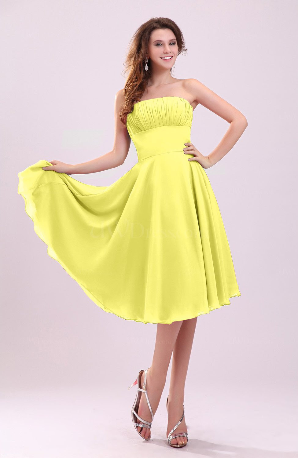 pale yellow simple aline sleeveless backless pleated