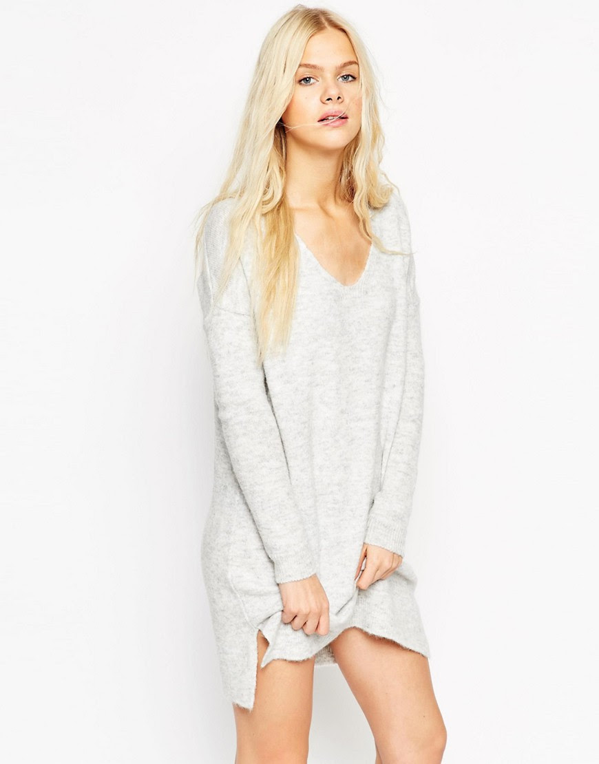 Image 1 of ASOS Jumper Dress In Soft Yarn With Deep V