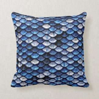 Metallic Cobalt Blue Fish Scales Pattern Throw Pillows