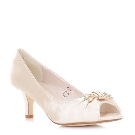 Ivory Satin Peep Toe Kitten Heel Wedding Shoes SIZE 3 8