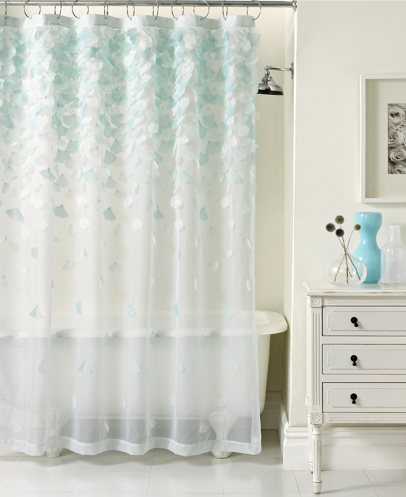 Charming Clear Shower Curtain With Design And White Cabinet