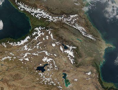 O Cáucaso, visto de um satélite