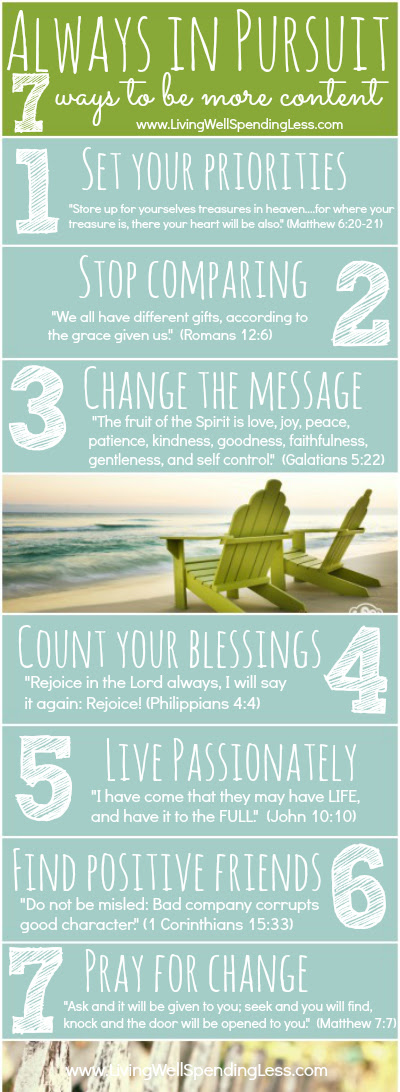 Always in Pursuit {7 Ways to Be More Content Right Now} #contentment #faith #inspiration