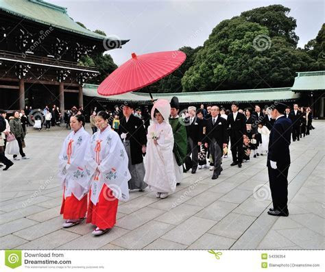 A Traditional Japanese Wedding Ceremony At Shrine