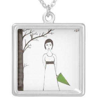 Jane Austen Rice Portrait necklace
