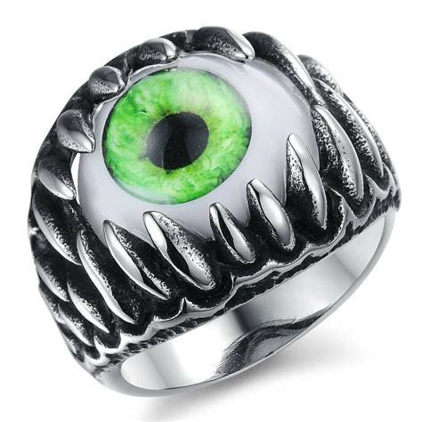 Vintage Stainless Steel Gothic Mens Ring Dragon Teeth