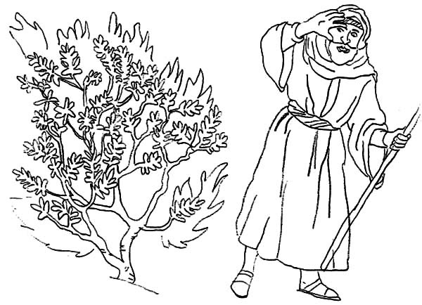 Moses Bedazzled to Burning Bush Coloring Pages - NetArt