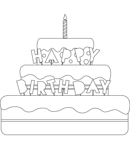 9800 Top Coloring Page Of Birthday Cake , Free HD Download