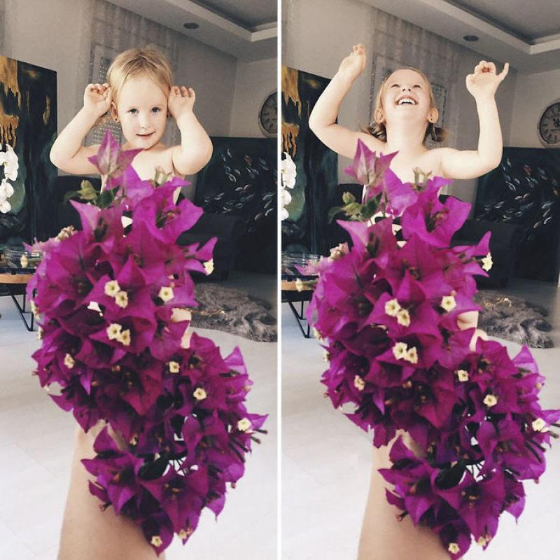 Mãe veste a filha com flores e comida usando a perspectiva forçada e conquista a internet 22