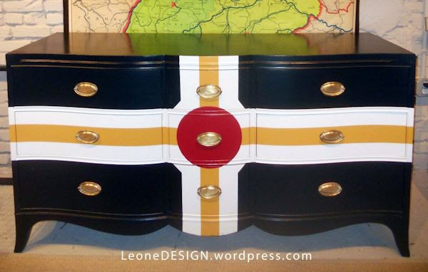 Bold and colorful dresser makeover from Leone Design - Parcheesi-inspired design with blue, white, and red