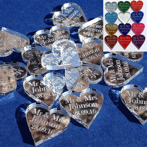 Wedding Favours Personalised Mr & Mrs 2cm Love Heart Table