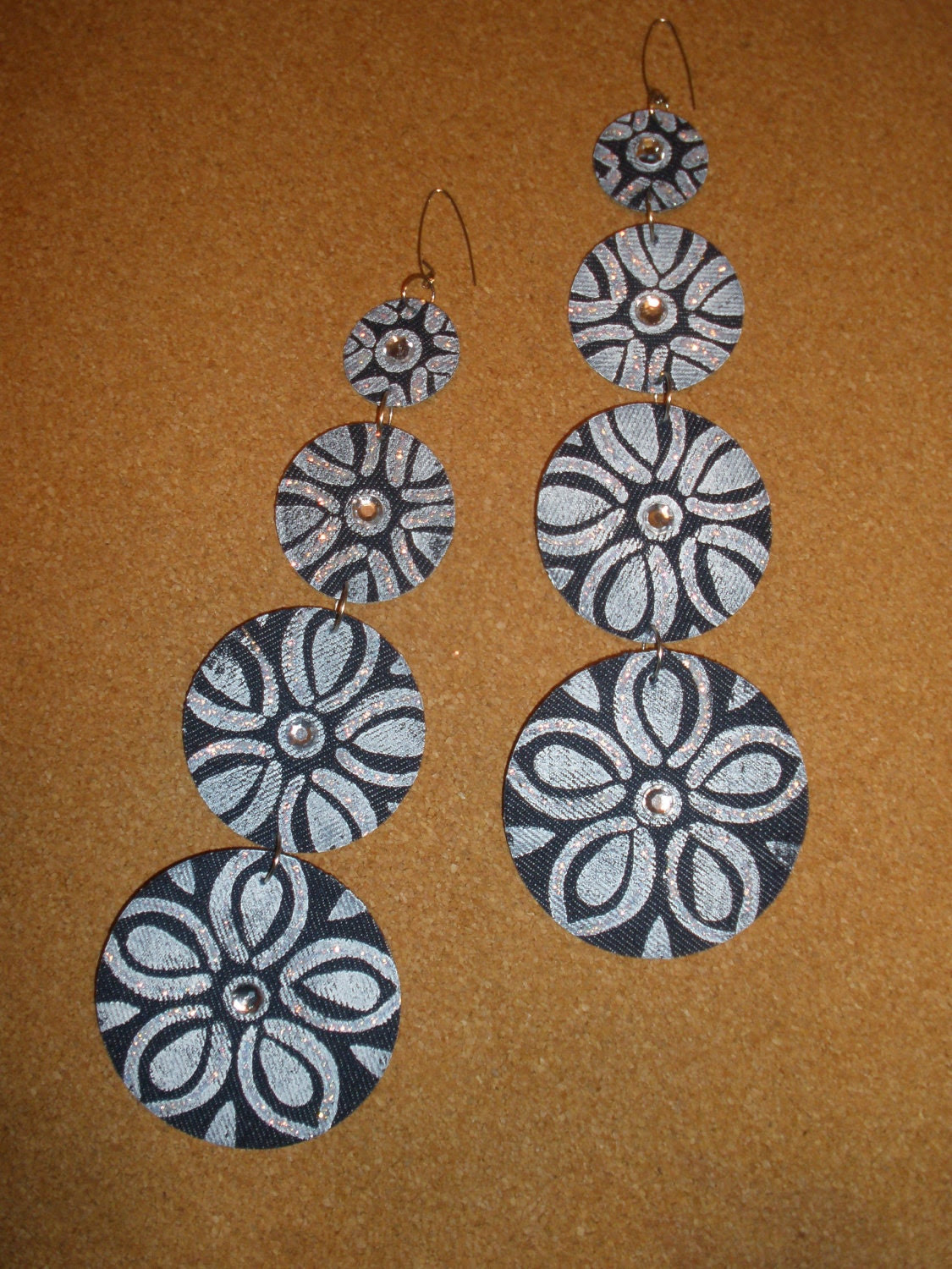 Fabulous Long Dangling Denim Fabric Earrings, Embellish with Flowers and Rhinestones, Trimmed in Glitter, Ladies and Women Fashion Earrings