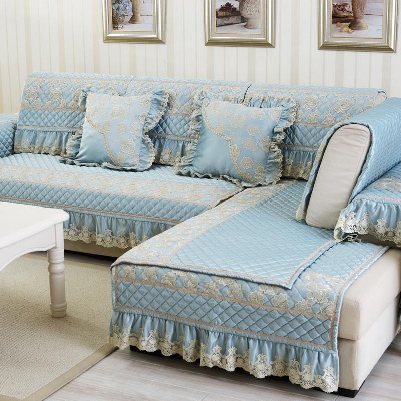 Luxo algodão sofá secional capa rendas bordado capa de poliéster acolchoado canto sofá capa sofá tapete canapé(China (Mainland))