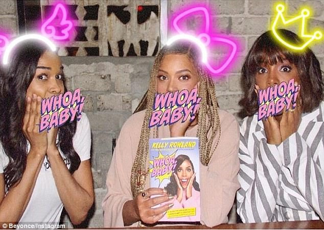 Family: She also posted a photo of herself with her former Destiny's Child band members: Michelle Williams and Kelly Rowland; Beyonce held tight to Kelly's new book, Whoa Baby!