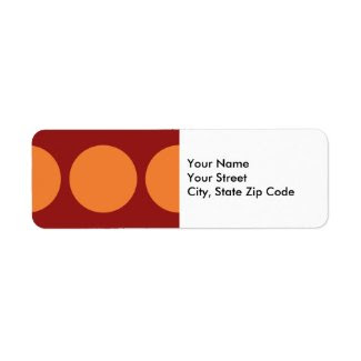 Orange Circles on Red return address label