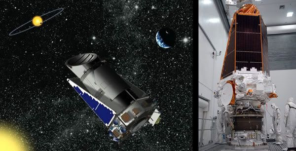 LEFT PIC: Artist's concept of the KEPLER spacecraft.  RIGHT PIC: The Kepler spacecraft after it is attached to its third stage booster at Cape Canaveral, Florida.