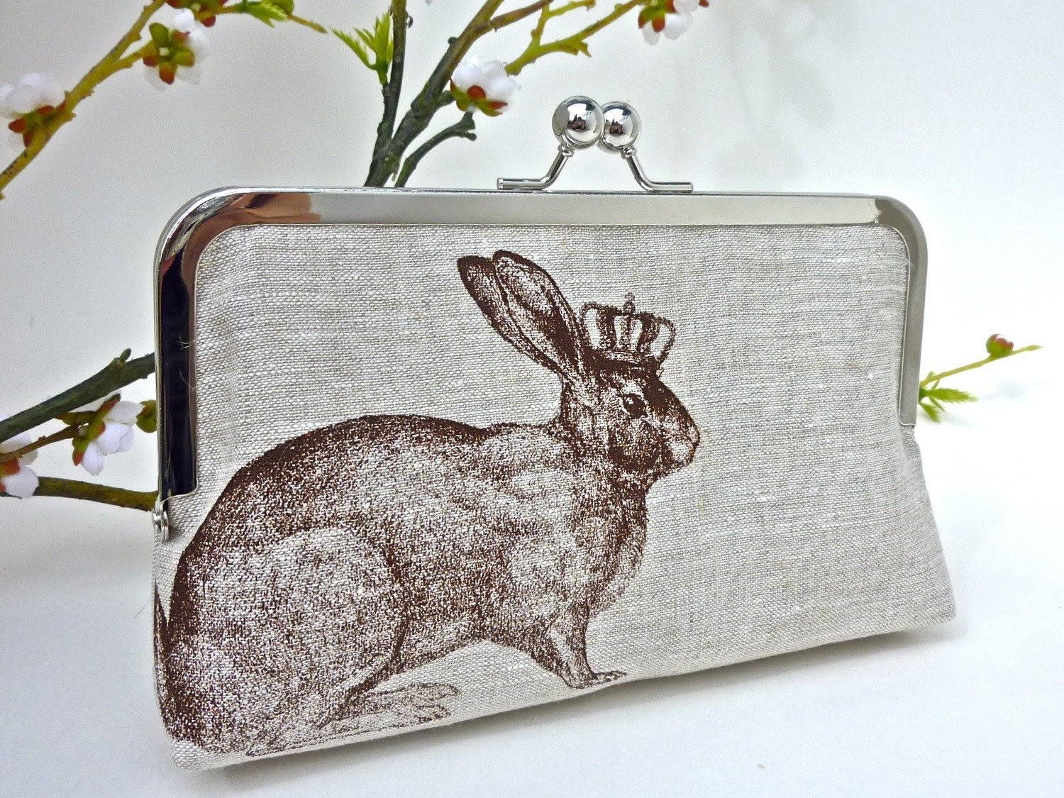 Linen Rabbit of Royalty Clutch