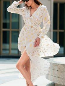Bohemian V-Neck Long Sleeve Feather Pattern High Slit Women's Dress - White Xl