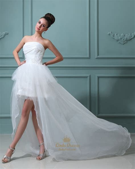 Ivory Strapless Organza Wedding Dress Short In Front Long