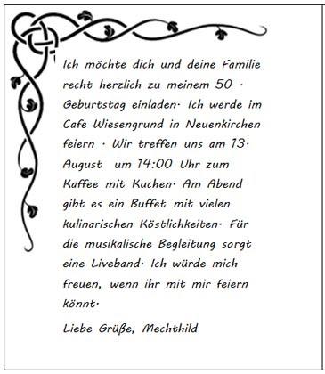 Vordruck Einladungskarte Zum 50 Geburtstag Kostenlos