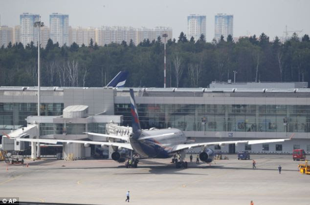 Arrival: Putin said the whistleblower remains in the transit area of the airport but he will not be extradited