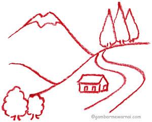 Belajar Menggambar  Pemandangan Gambar Mewarnai
