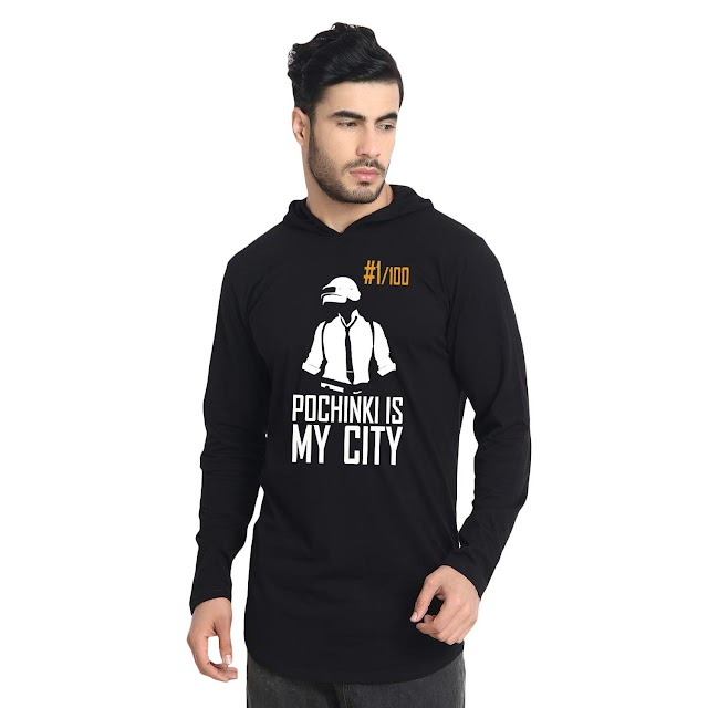 FRENEMY Printed Men's Apple Cut Hooded Black T-Shirt For Pubg Lovers