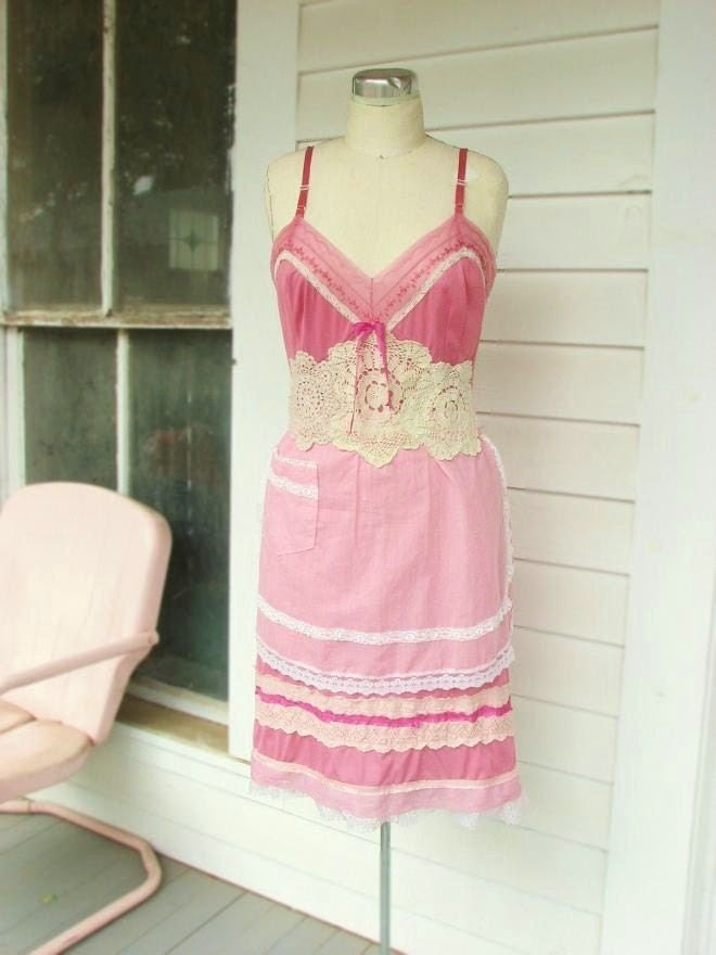 vintage apron slip dress
