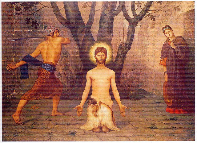"Puvis de Chavannes, Execution of St. John the Baptist, 1800s on Flickr.  Click image for 1224 x 892 size. Scanned from ""Os Santos"", Elizabeth Hallam."