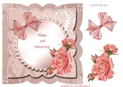 Pearl (30th) Wedding Anniversary Card Front with Decoupage