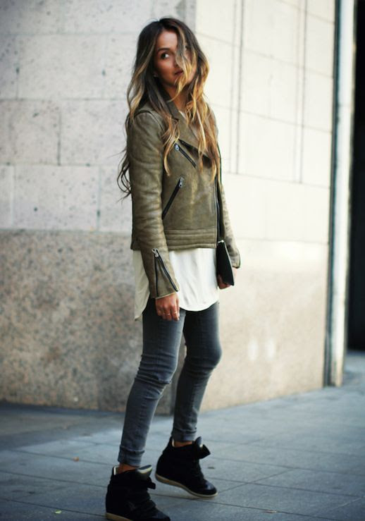 Le Fashion Blog Ways To Wear Green Coat Fall Winter Blogger Style Moto Leather Jacket Tunic Cuffed Denim Wedge Sneakers Via Sincerely Jules