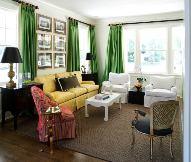 Emerald Green Curtains - Transitional - living room - Sara Tuttle ...