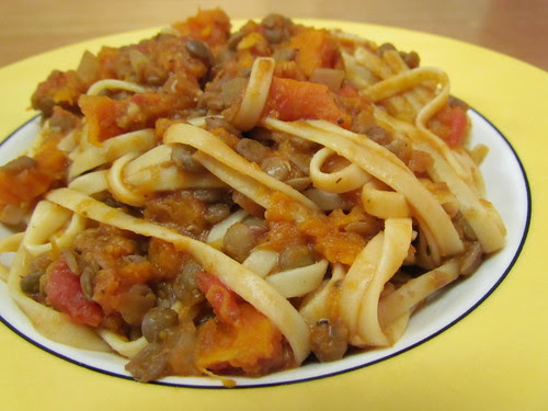 Linguine with Lentils and Roasted Butternut Squash