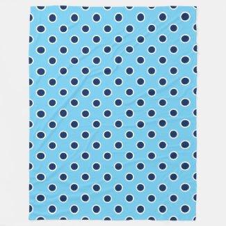 Cozy Sky Blue Fleece Blanket with Navy Polka Dots