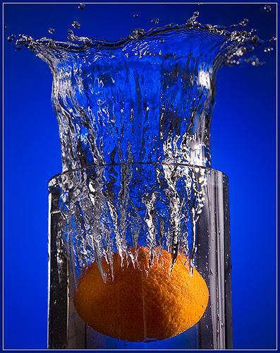 Blue, with a splash of orange