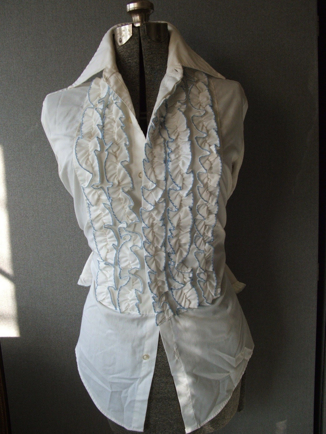 His or Hers Tuxedo Shirt WHITE with Blue Trim