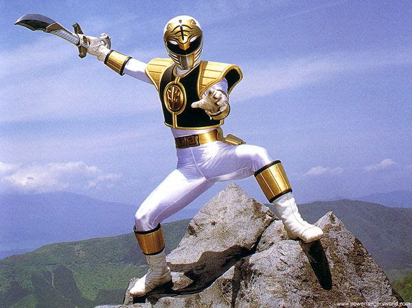 The White Ranger strikes a pose in MIGHTY MORPHIN POWER RANGERS.
