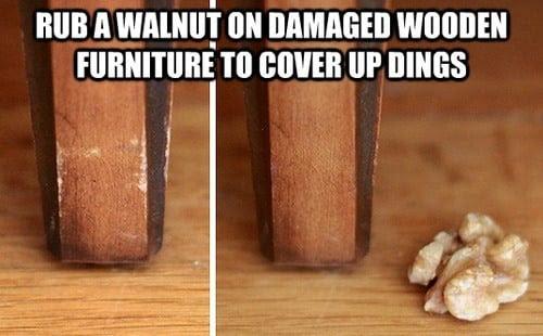 rub a walnut on damaged wooden furniture