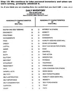 Image result for moral inventory worksheet | AA Recovery My ...