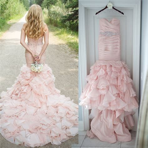 Hot Sale Pleated Sweetheart Blush Pink Wedding Dress 2016