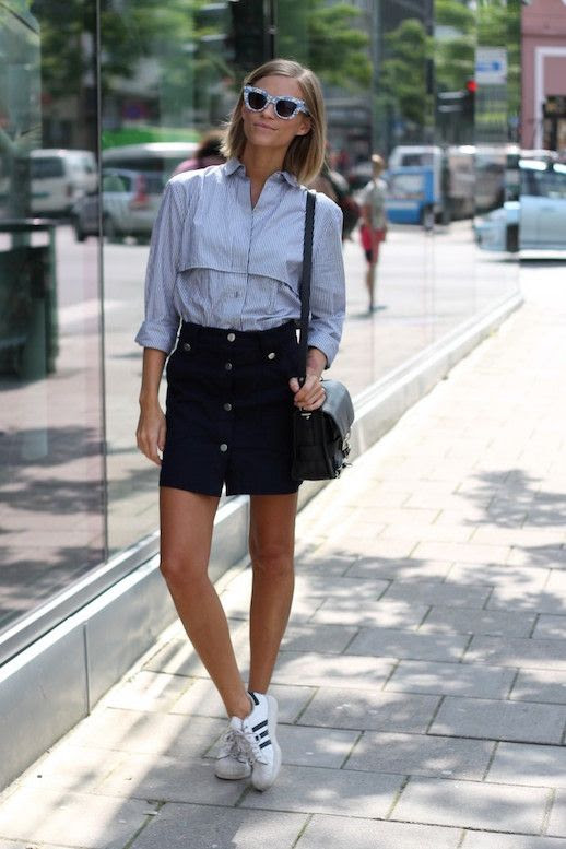 Le Fashion Blog 25 Ways To Wear Adidas Sneakers Print Sunglasses Button Down Shirt A Line Skirt Proenza Schouler Superstar Tine Andrea Via The Fashion