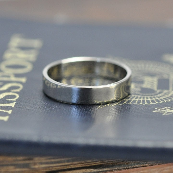 The White Gold Wedding Ring, Hand forged 18k White Gold 4mm Band, size 8.25-10