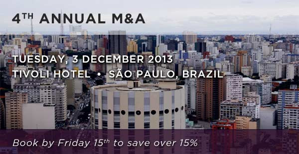 4th Annual M&A, Tuesday 3 December 2013. Book by Friday 15th to save over 15%