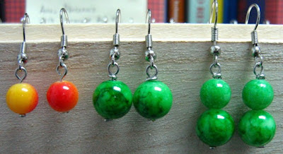 wire wrap colorful plastic beads earrings