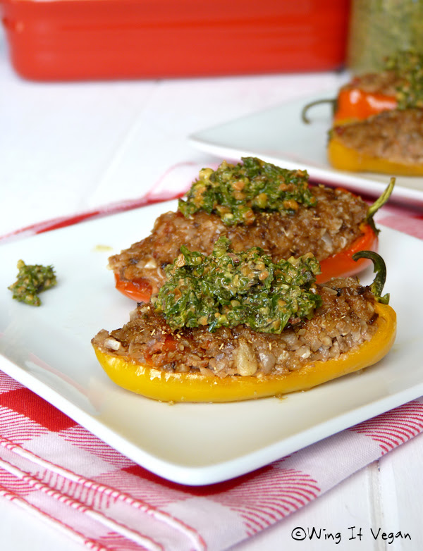 Stuffed Peppers with Sunseed Hash (Practically Raw)