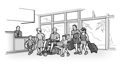 Parents, grandparents, and children arrive at a hotel for vacation.